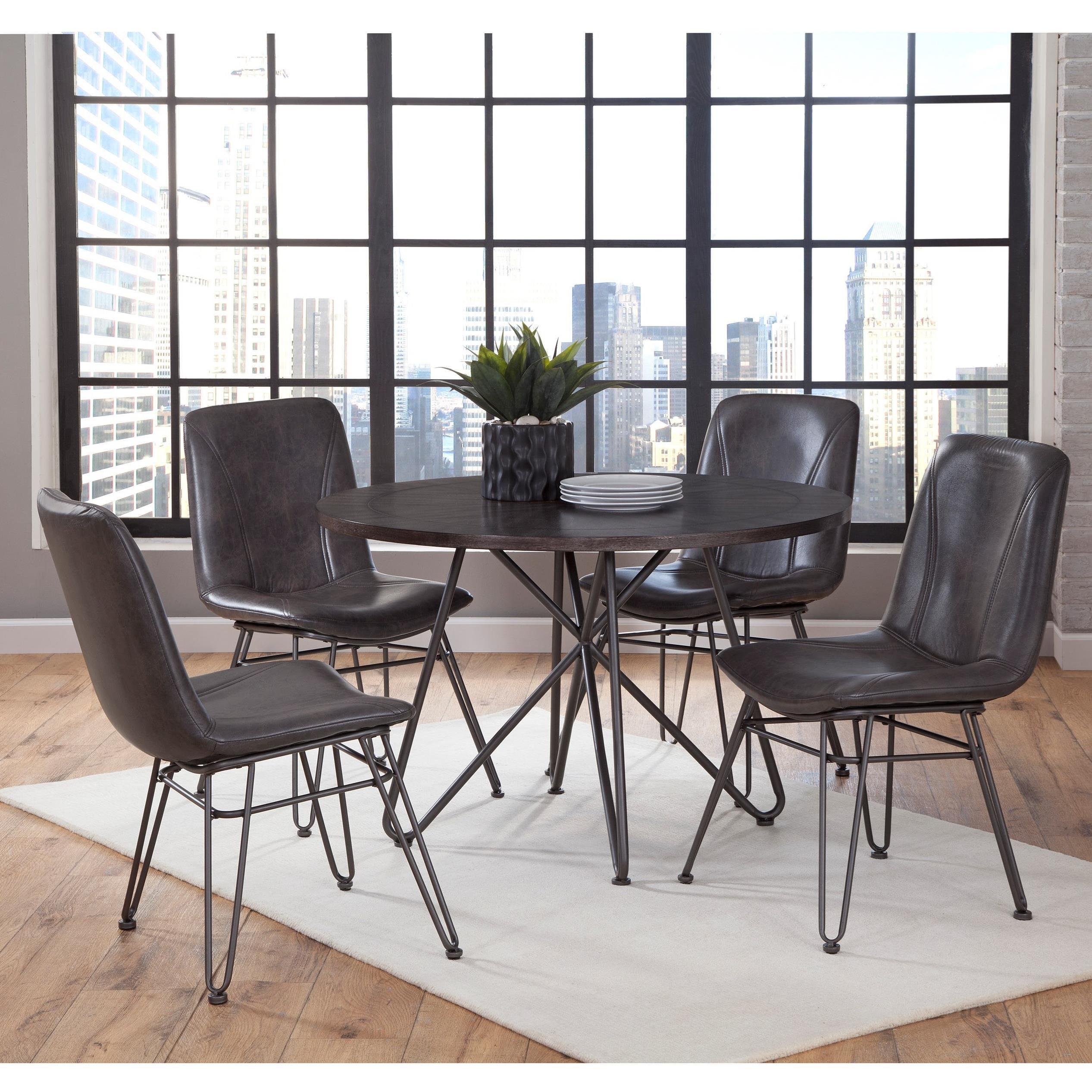 Levits Furniture: Steve Silver Derek 5 Piece Industrial Dining Set