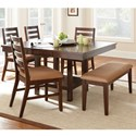 Steve Silver Eden 6 Piece Dining Set with Bench - Item Number: ED400TC+4xSC+BNC