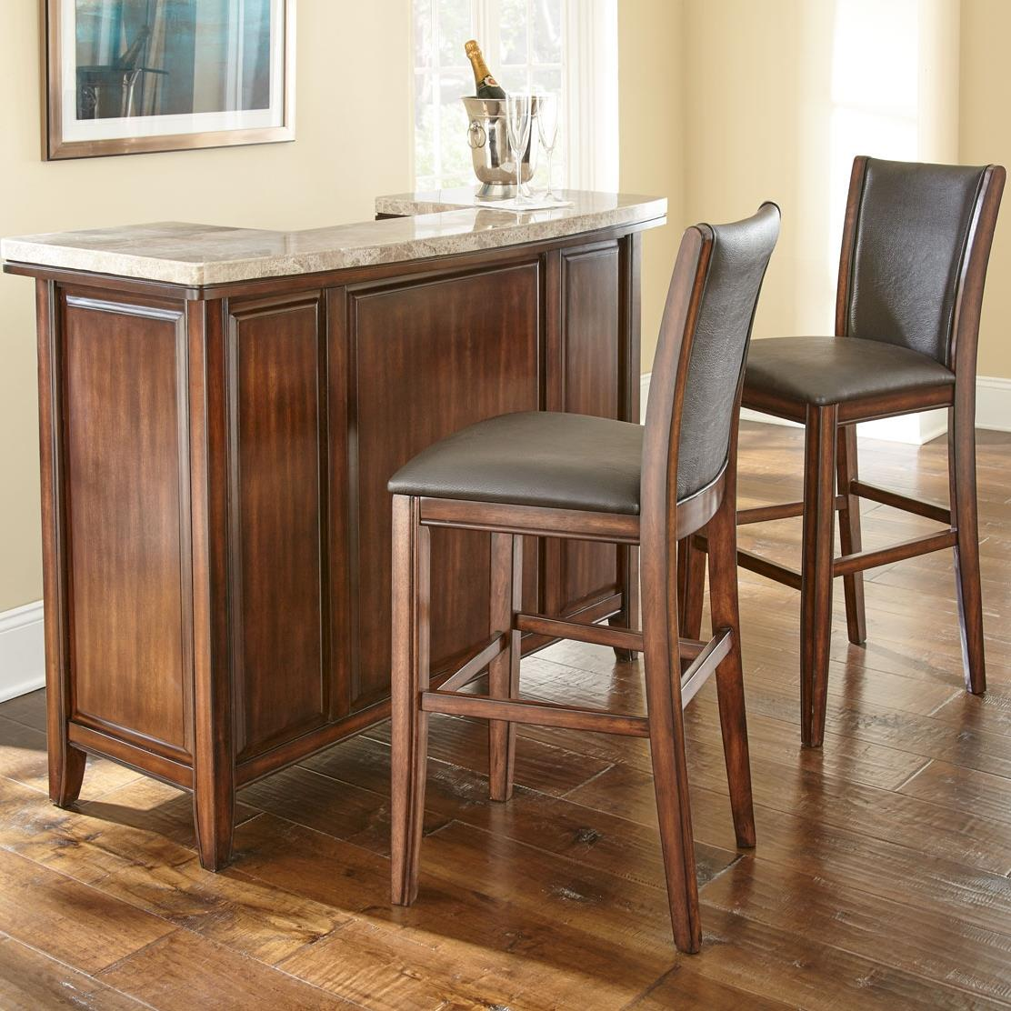 Beau Steve Silver Eileen Marble Top Bar And Stool Set   Item Number:  EE500SVT+EE500SVB