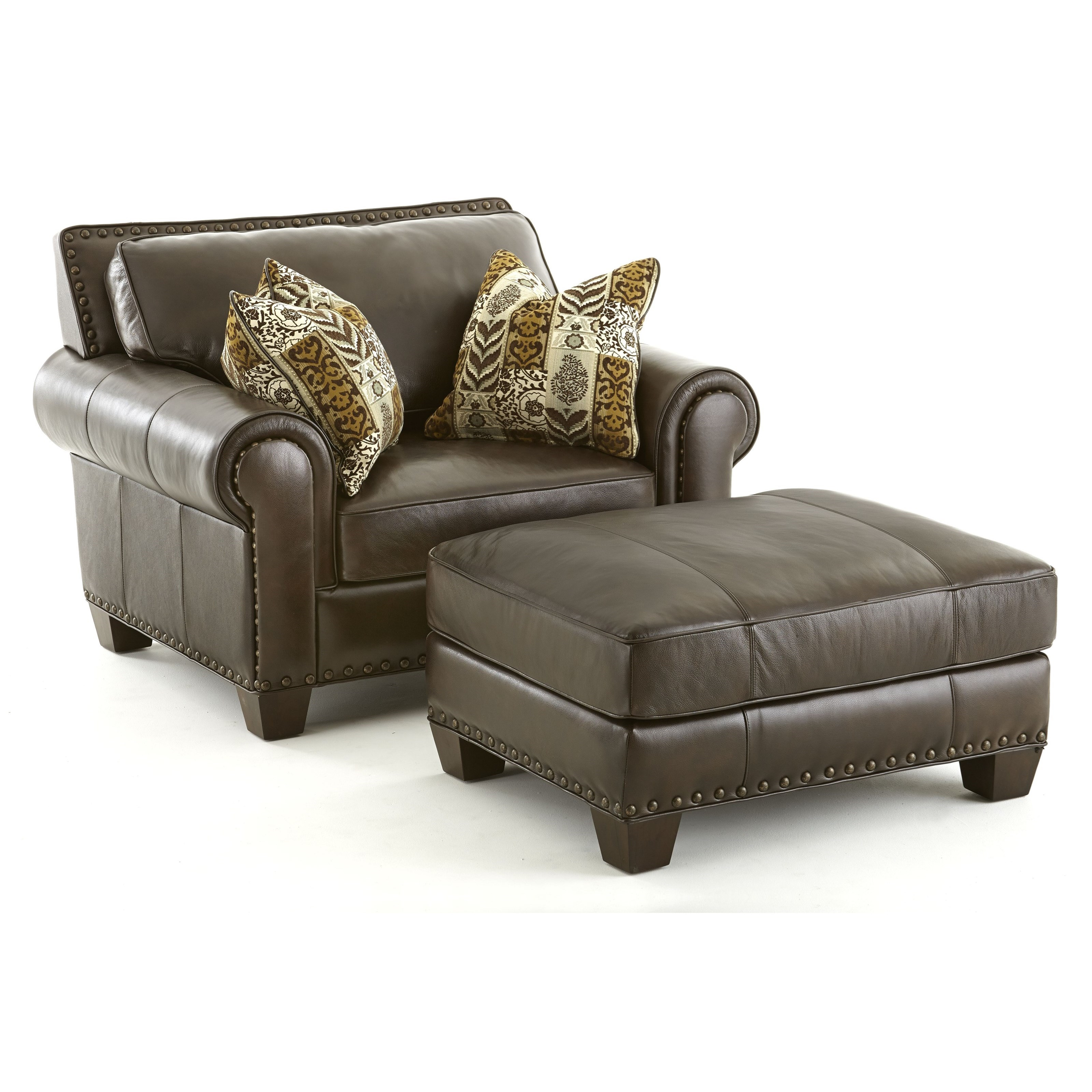 Steve Silver Escher Transitional Chair and Ottoman - Item Number: SR810C+T-Coffee Bean