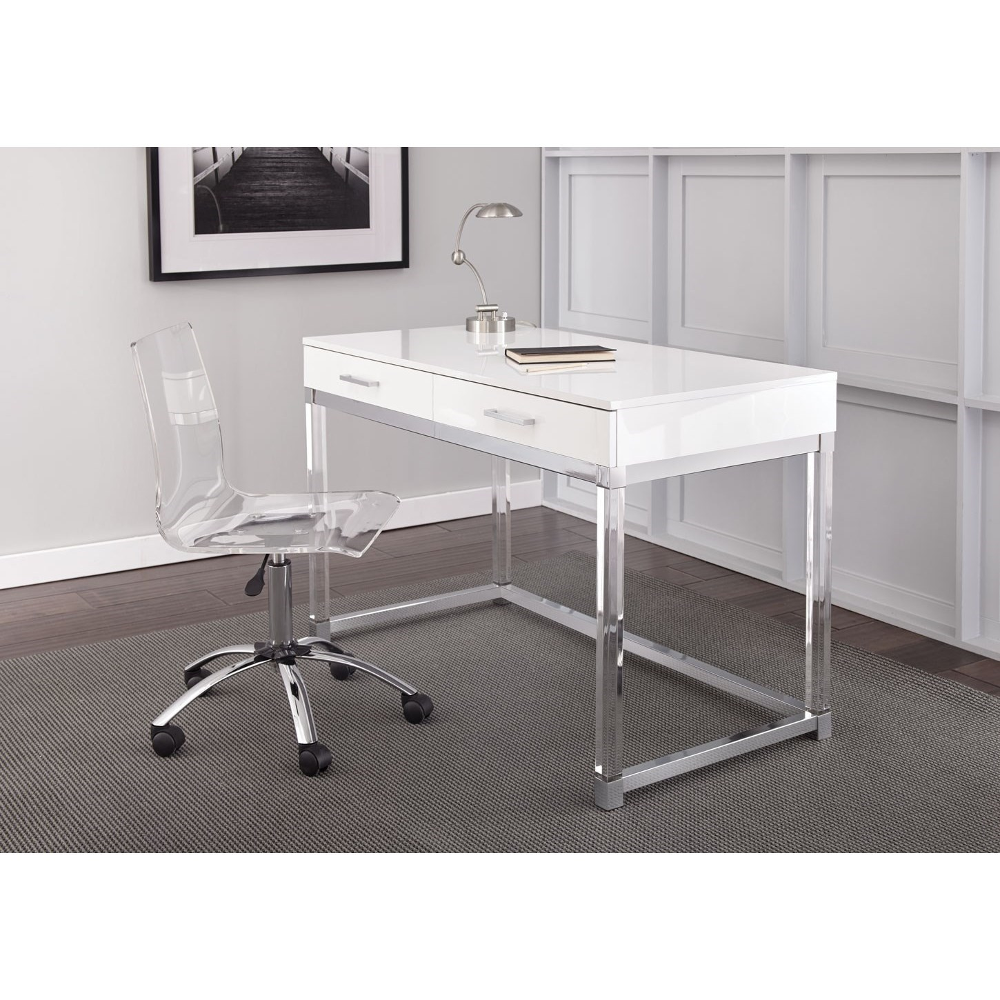 Everett Chrome and Acrylic Desk and Chair Set by Steve Silver at Walker's Furniture