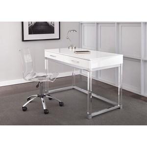 Steve Silver Everett Chrome and Acrylic Desk and Chair Set