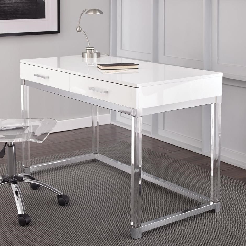 Everett Two Drawer Writing Desk With Acrylic Base By Steve Silver