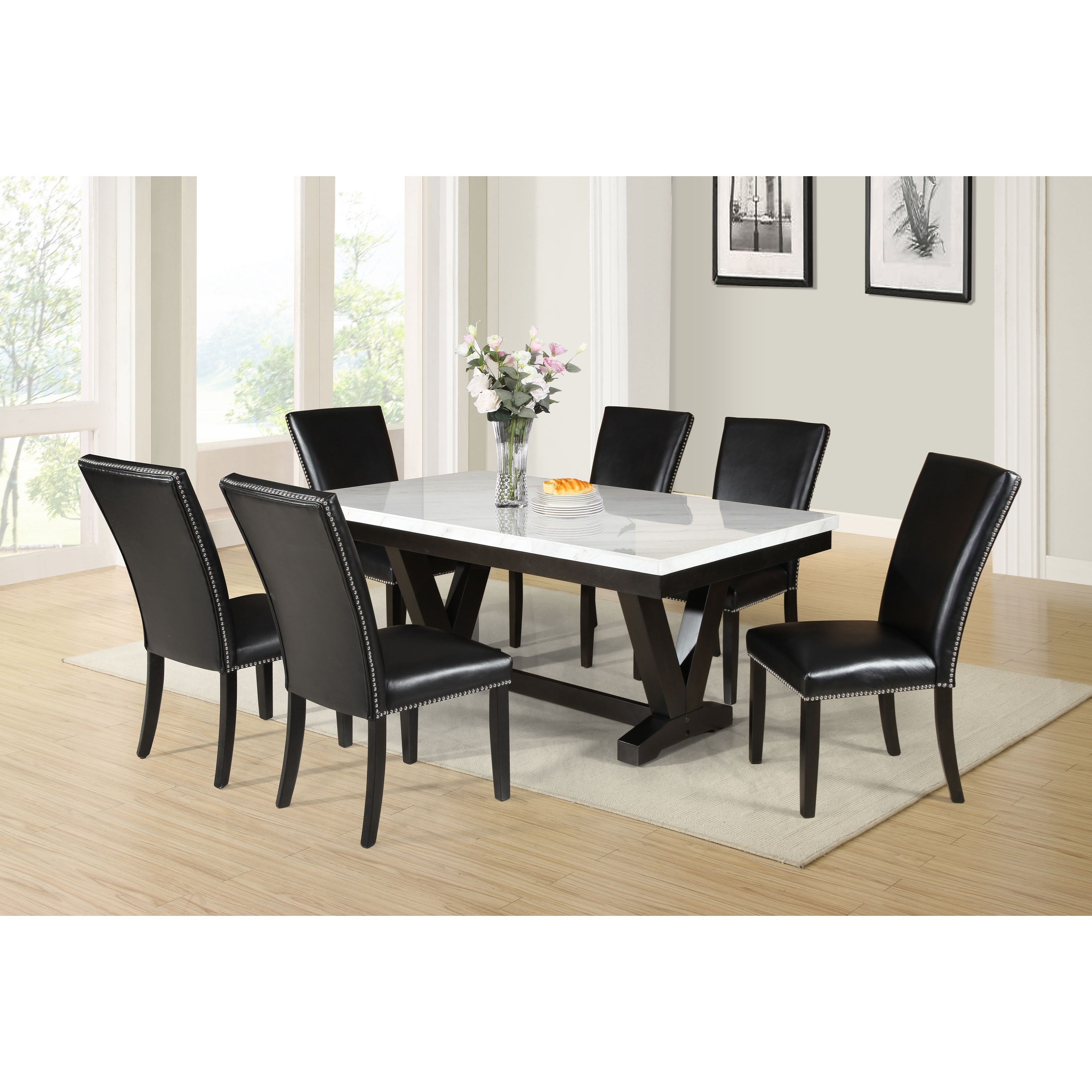 Finley 7-Piece Table and Chair Set by Steve Silver at Walker's Furniture