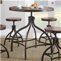Steve Silver Fiona Industrial Round Table with Adjustable Height