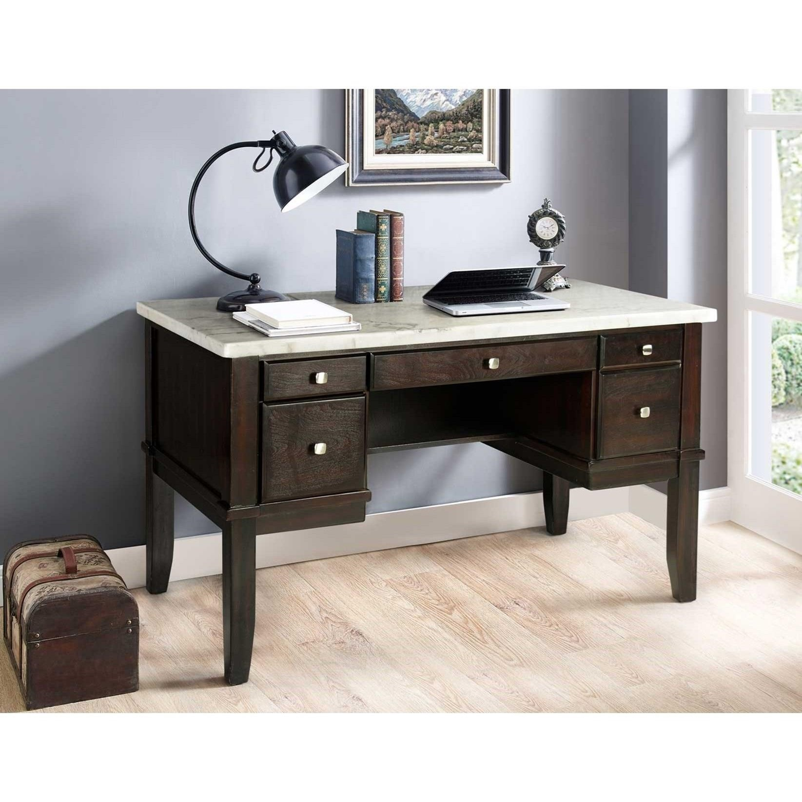 Francis Marble Top Desk by Steve Silver at Walker's Furniture