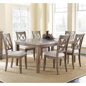 Vendor 3985 Franco 7 Piece Marble Top Dining Set