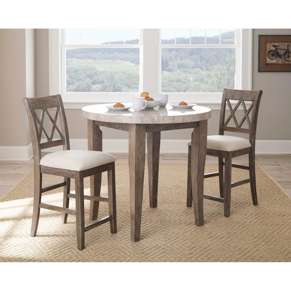 Steve Silver Franco 3 Piece Marble Counter Height Dining Set - Item Number: FR600WPT+2xCC