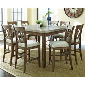 Steve Silver Franco 7 Piece Marble Counter Height Dining Set at