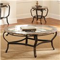 Morris Home Furnishings Boca Raton Cocktail Table with Glass Top and Marble Border - Shown with End Table