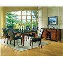 Morris Home Furnishings Granite Bello Granite Top 3-Drawer 2-Door Server with Wine Rack - Shown with 7-Piece Dining Set