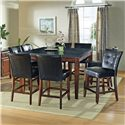 Morris Home Furnishings Granite Bello Black Vinyl Counter Height Parsons Chair - Shown in 9-Piece Pub Set