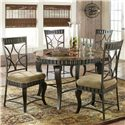 Steve Silver Hamlyn 5 Piece Faux Marble Top Dining Table Set - Item Number: HL500T+4xS