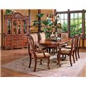 Steve Silver Harmony  Traditional Carved Trim China Cabinet with Storage - Shown with 7-Piece Dining Set