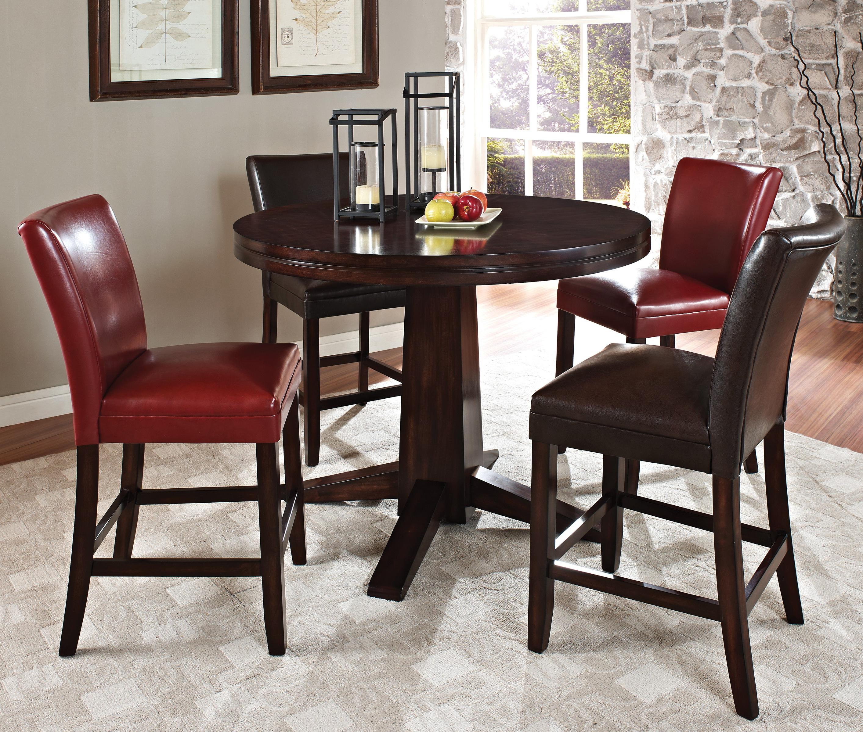 Steve Silver Hartford 5 Piece Counter Height Dining Set - Item Number: HF480PB+T+2x600CCBR+2x600CCRD