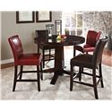 Steve Silver Hartford Round Counter Pedestal Table - Shown with Brown and Red Counter Chairs