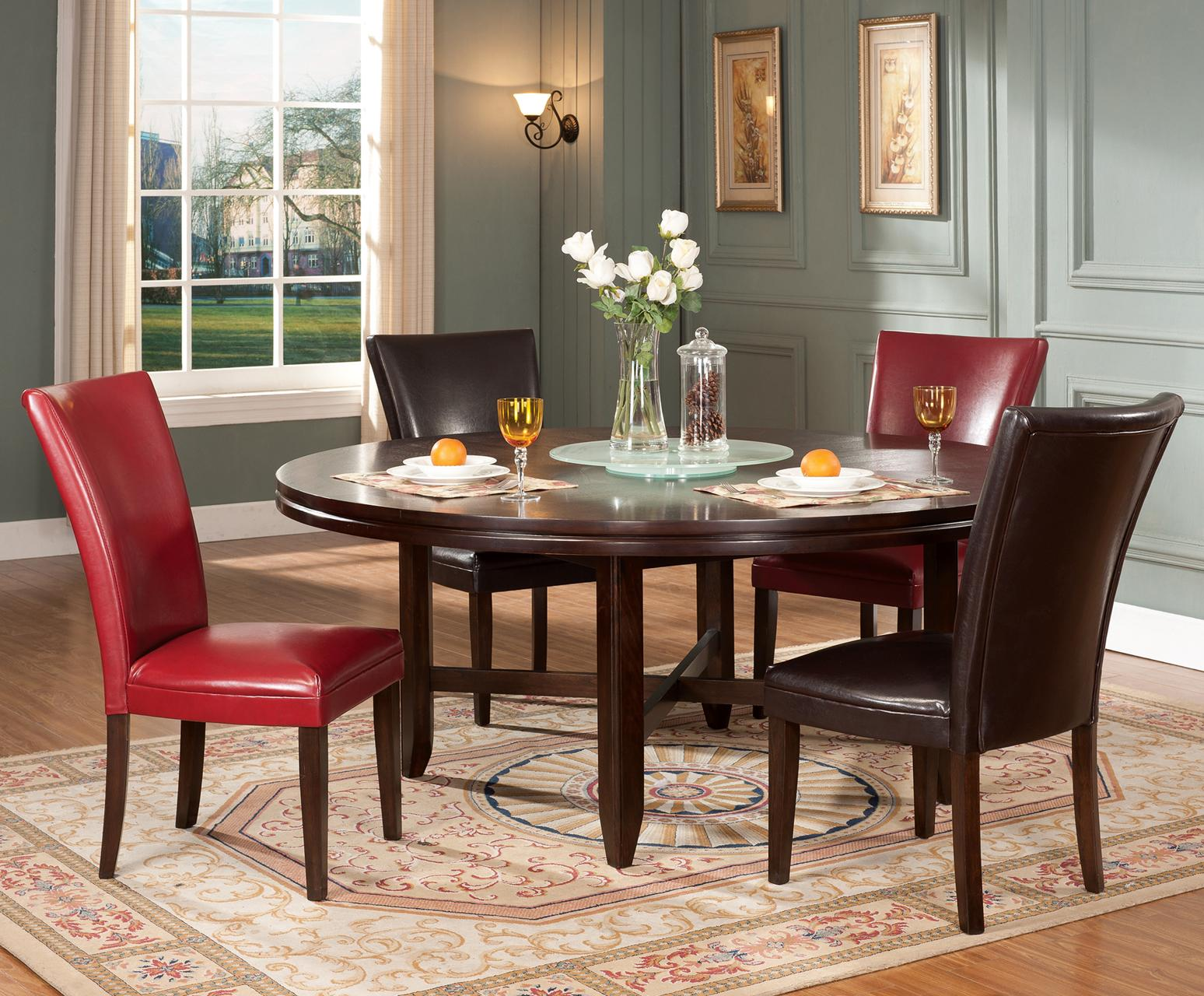 Steve Silver Hartford 5 Piece Contemporary 72 Round Table Parsons Chair Set