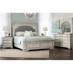 Queen Bed, Dresser, Mirror, and Nightstand