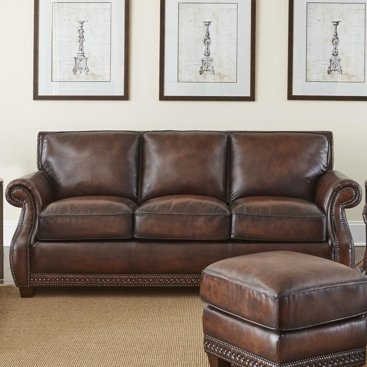 Steve Silver Jamestown Traditional Leather Sofa With