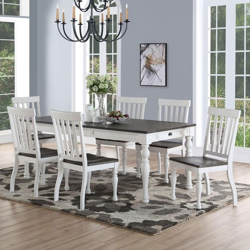 Kitchen Chairs Set Of 4 Country Farmhouse Dining Room: Steve Silver Joanna Farmhouse Table And Seven Chair Set