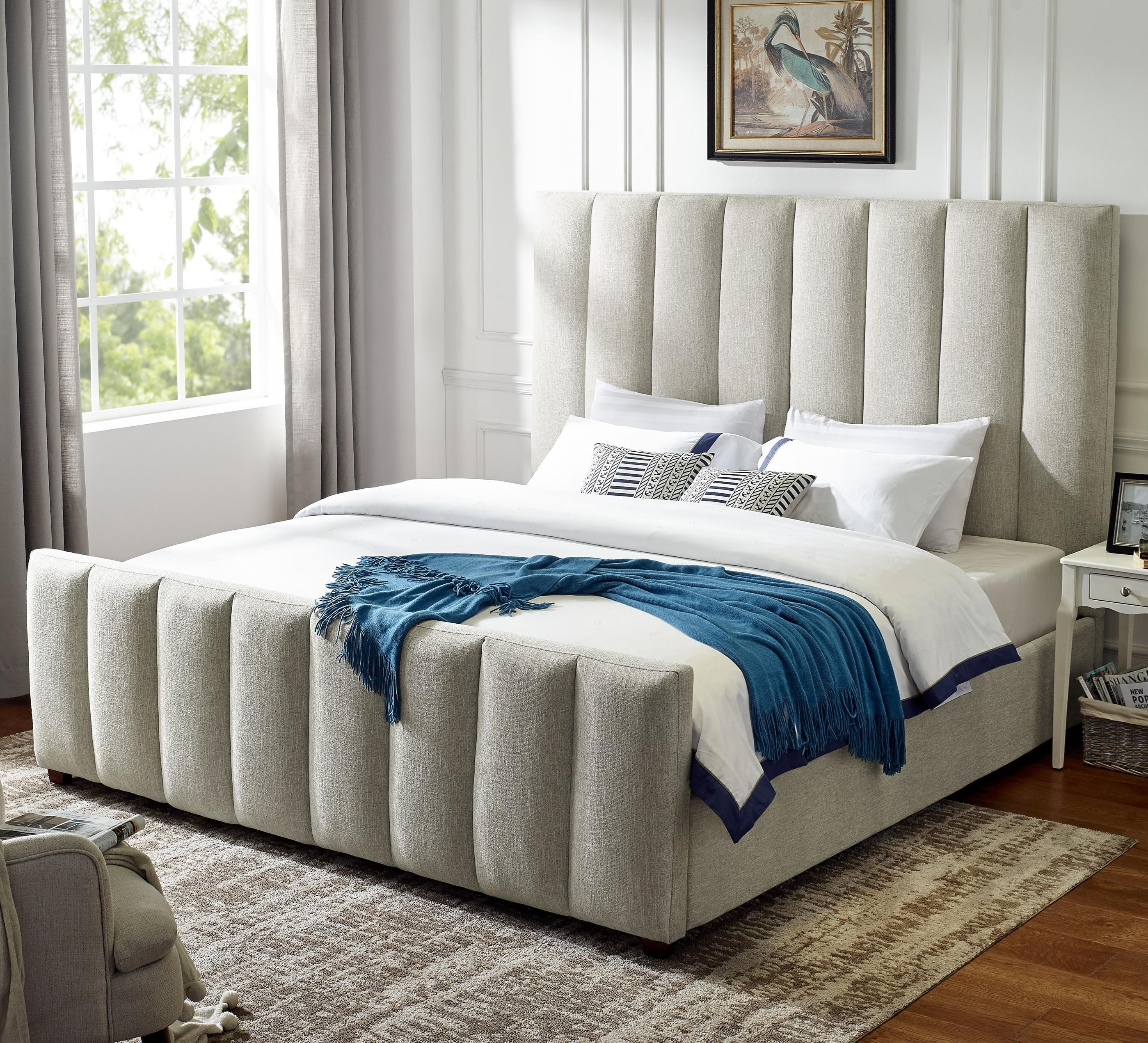 Steve Silver Kenley King Upholstered Bed With Channel Tufting And Heathered Tweed Fabric A1 Furniture Mattress Upholstered Beds