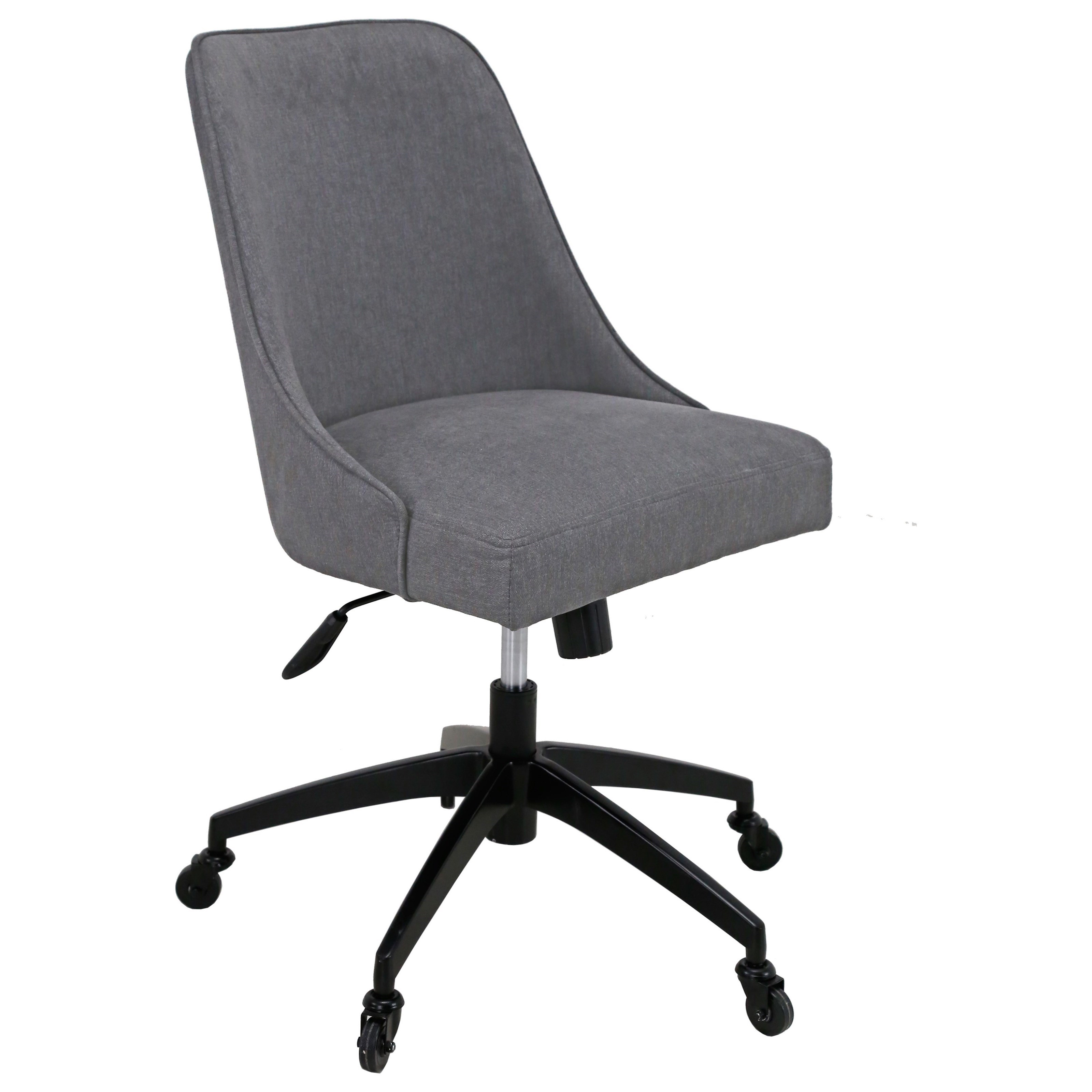 Image of: Steve Silver Kinsley Swivel Upholstered Desk Chair In Gray Fabric A1 Furniture Mattress Office Task Chairs