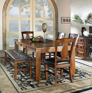 Steve Silver Lakewood  6-Piece Dining Table Set w/ Bench - Item Number: LK400T+4xLK400S+LK400BN