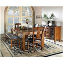 Steve Silver Lakewood  6-Piece Dining Table, Bench, & Side Chair Set - Shown with Server