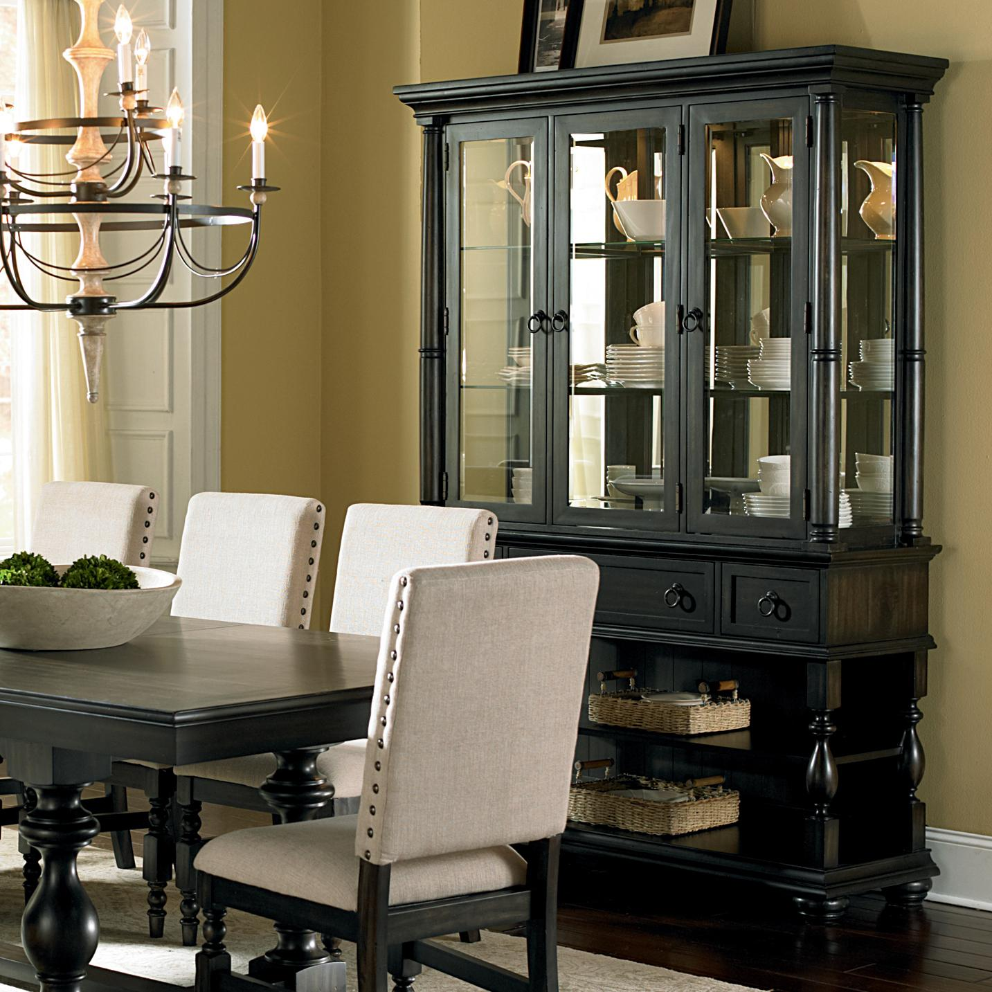 Steve silver leona cottage antique black buffet hutch for Dining room shelf designs
