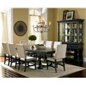 Steve Silver Leona Cottage Side Chair with White Linen Upholstery & Nailhead Trim - Shown in Dining Set with Buffet & Hutch