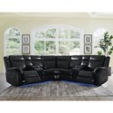 Morris Home Levin 4 Seat Power Reclining Sectional Sofa - Item Number: LV950LALB+WBB+WSB+RALB