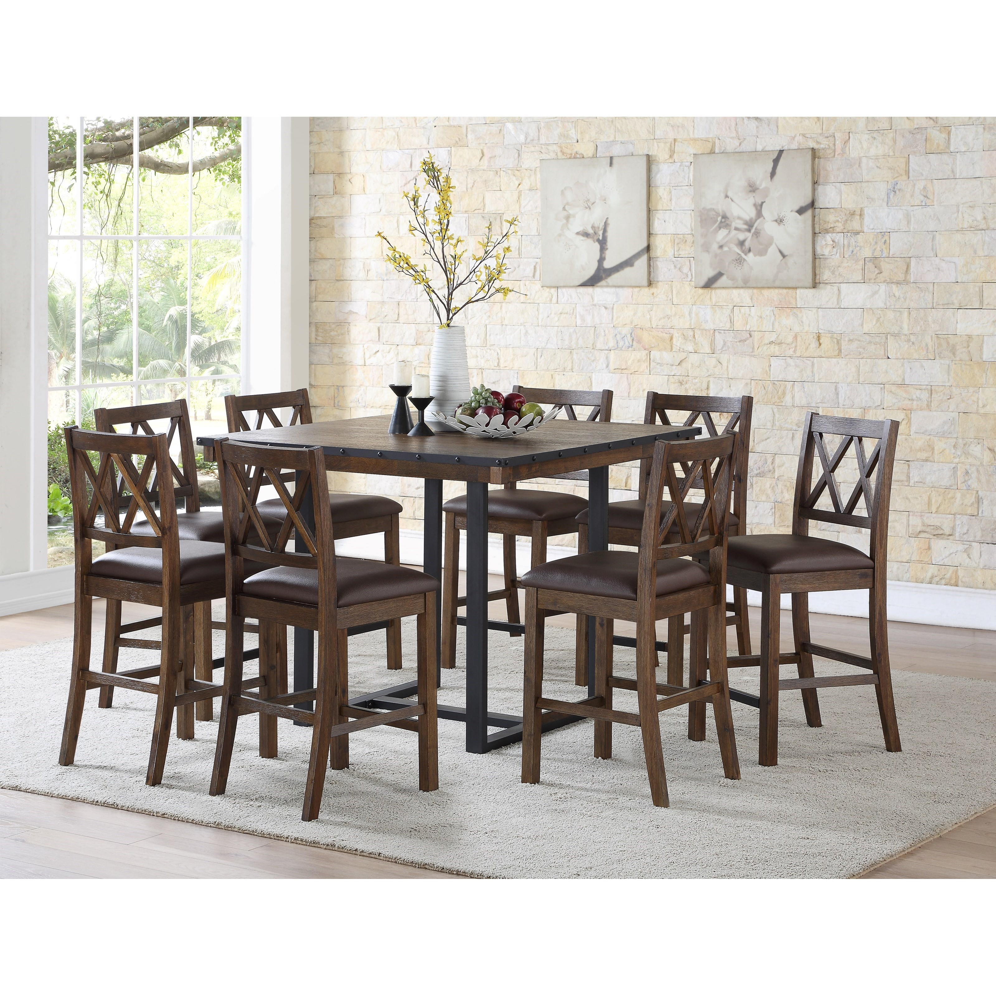 Lori 9 piece counter table and chair set