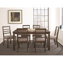 Steve Silver Lyndon Casual Contemporary Dining Set with Ladderback Chairs