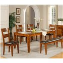 Morris Home Furnishings Mango Dining Bench with Upholstered Seat - Shown with Table and Side Chairs