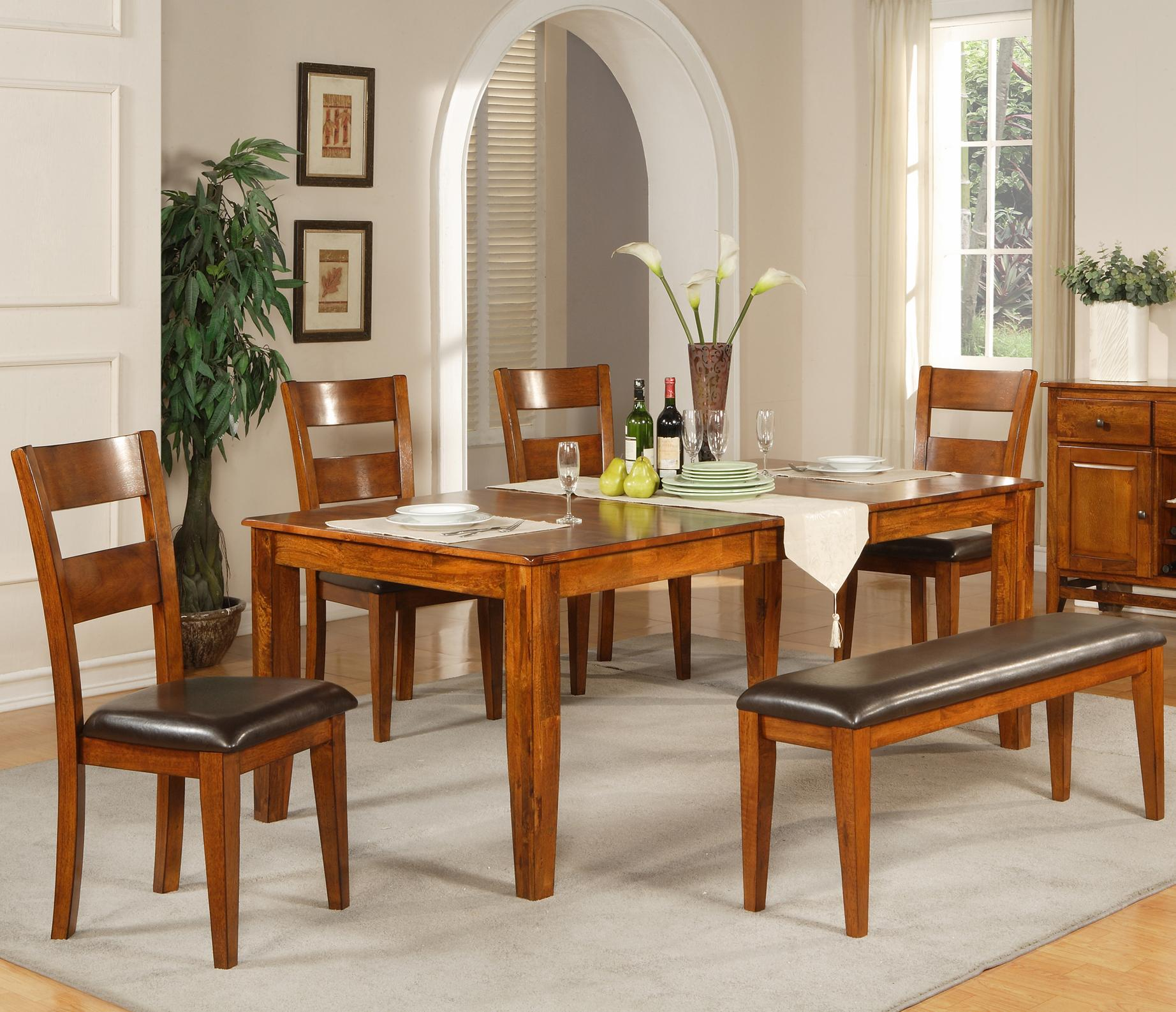 Steve Silver Mango 6 Pc. Table Set with Bench - Item Number: GO400TK+4xGO400SK+GO400BNK