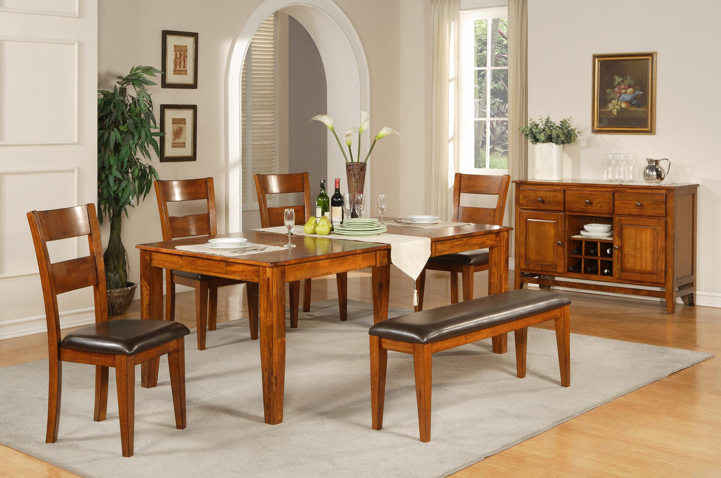 Vendor 3985 Mango 6 Pc Leg Table With Four Side Chairs