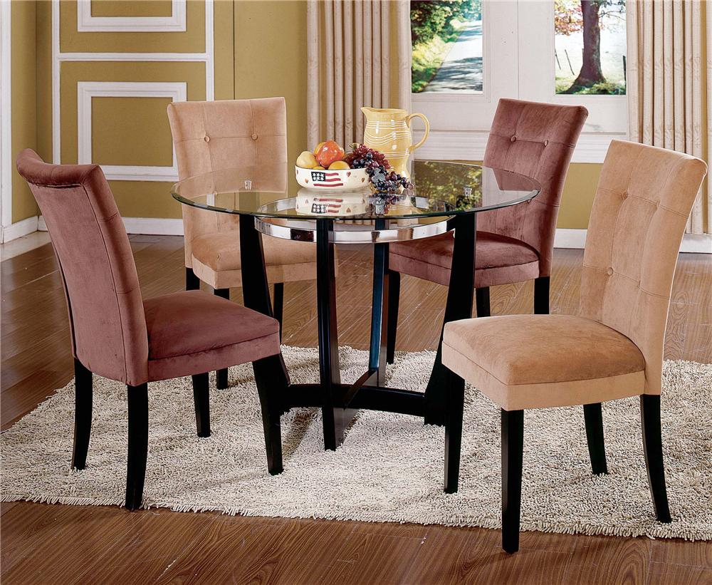 Steve Silver Matinee Glass Top Dining Table & Chair Set - Item Number: MT200B+T+CH+CA