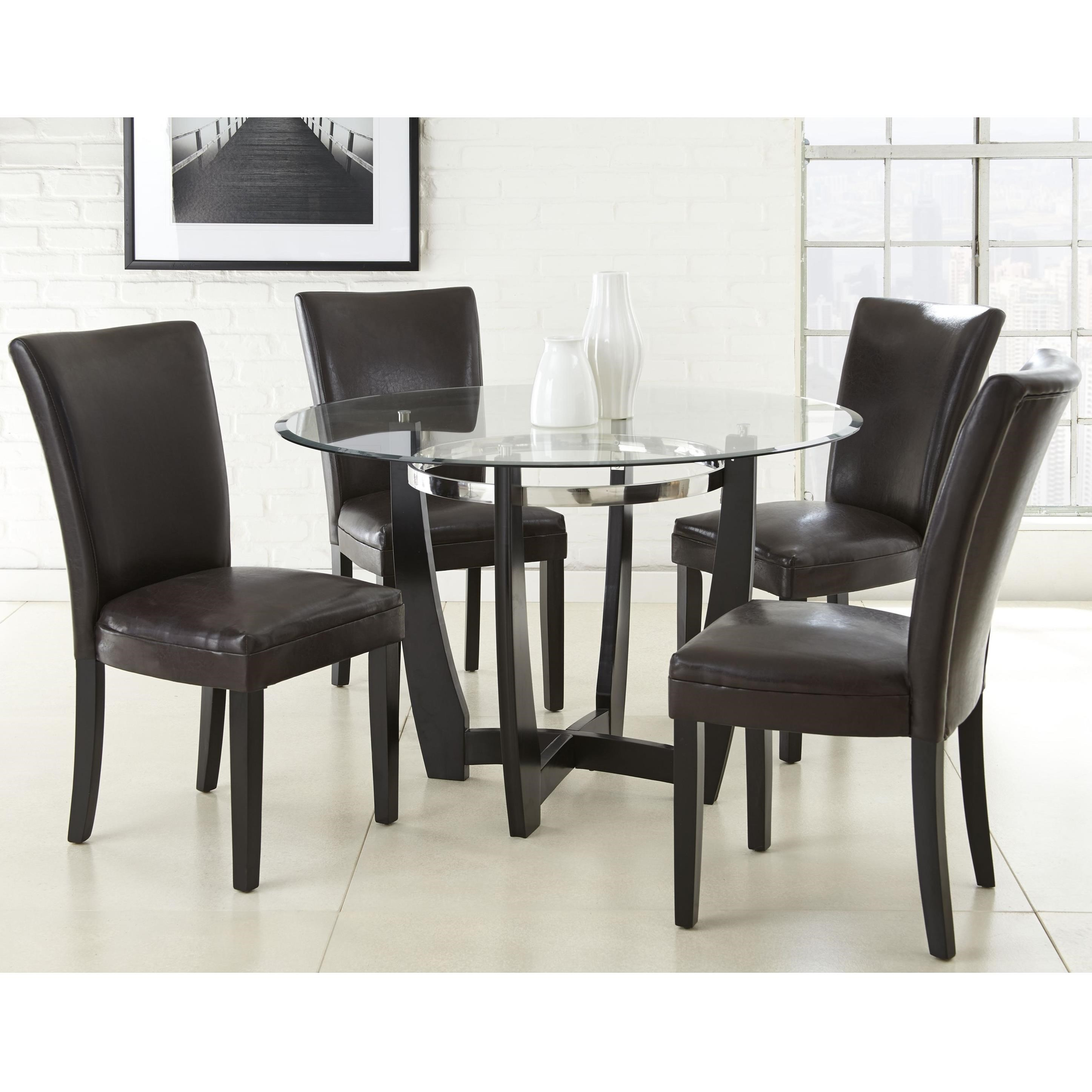 Steve Silver Matinee 5 Piece Dining Set - Item Number: MT480B+T+4xSK