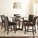 Steve Silver Matinee 6 Piece Counter Height Dining Set - Item Number: MT480PB+T+5xCCK