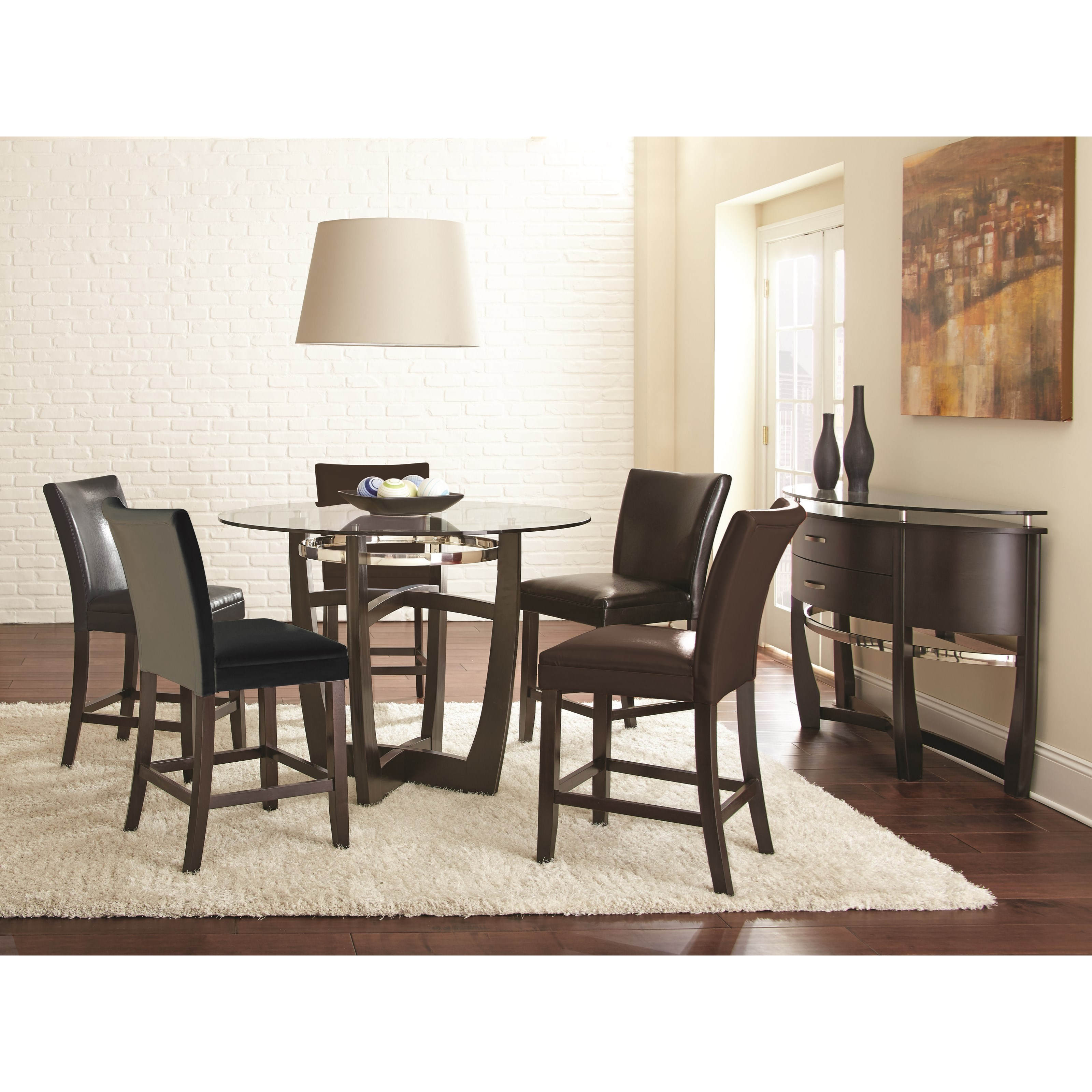 Levits Furniture: Steve Silver Matinee Round Counter Height Table With Glass