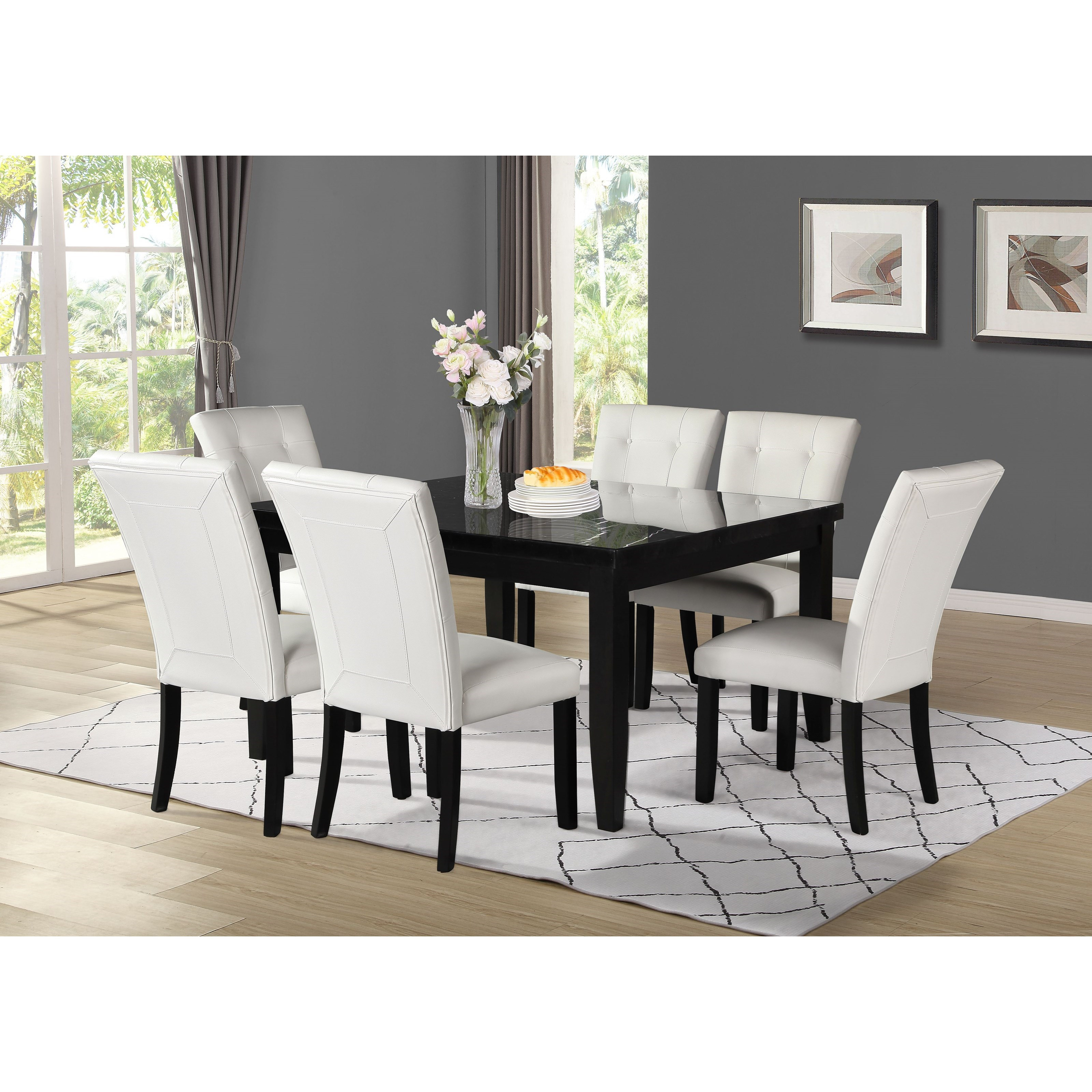 7-Piece Square Table and Chair Set