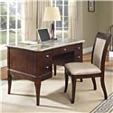 Steve Silver Marseille Transitional Double Pedestal Table Desk with Marble Top - Shown With Matching Desk Chair