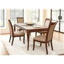 Steve Silver Marseille Marble Top Table with 4 Chairs - Item Number: MS850 5 Pc Group