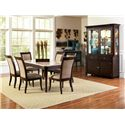Morris Home Furnishings Marseille Transitional Marble Top Dining Sideboard - Shown with Marble Top Dining Table, Dining Side Chairs, and Buffet with Hutch
