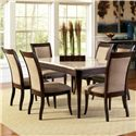 Steve Silver Marseille 7-Piece Marble Top Dining Set - Item Number: MS850WT+6xMS800S