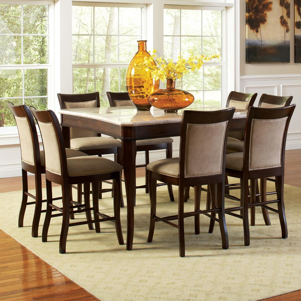 Steve Silver Marseille 9-Piece Marble Counter Height Set - Item Number MS950WPT+ & Steve Silver Marseille 9-Piece Marble Top Pub Table and Upholstered ...