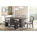 Steve Silver Mila Dining Table and Chair Set with Bench - Item Number: MI500TT+B+4xS+BNT+B