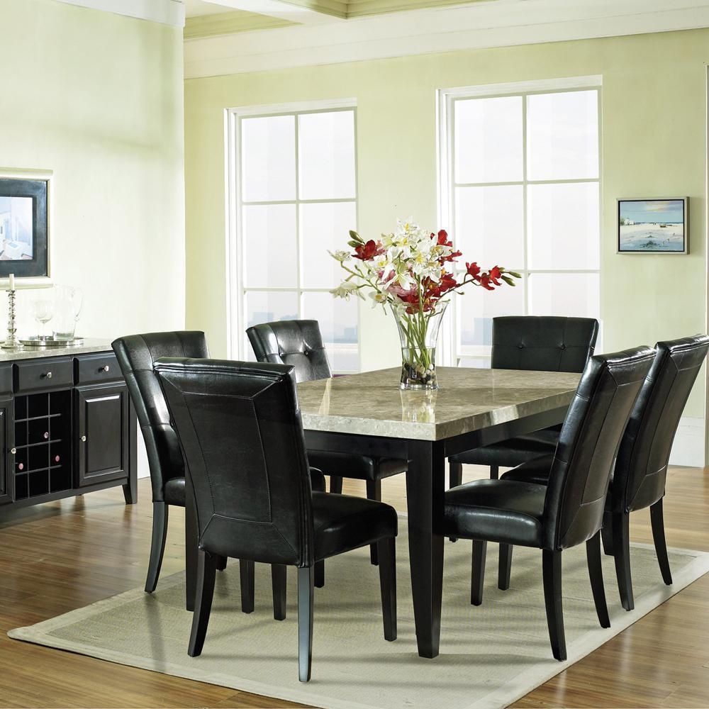 7 Pc. Dining Set, Marble Veneer Top Table