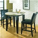 Steve Silver Monarch Marble Veneer Top Round Leg Table - Round Counter Table with Parson Stools