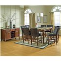 Steve Silver Montibello Dark Brown Parsons Counter Height Chair - Shown with Coordinating Counter Height Table and Server